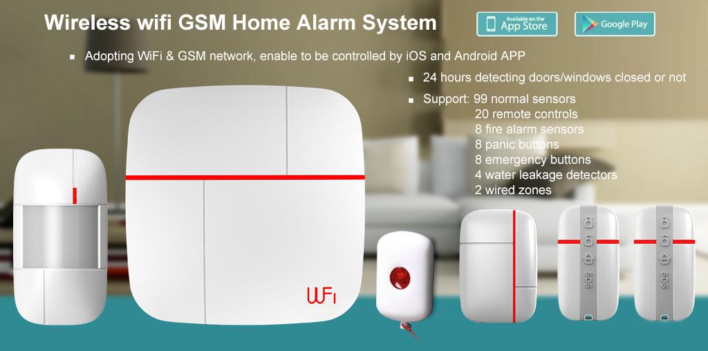 Wireless WiFi + GSM Home House Alarm System Multi Language Smart